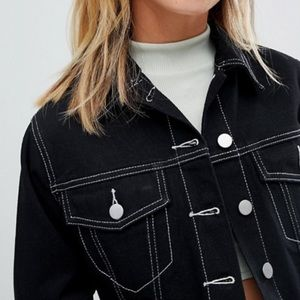 Contrast Stitch Raw Hem Cropped Denim Jacket